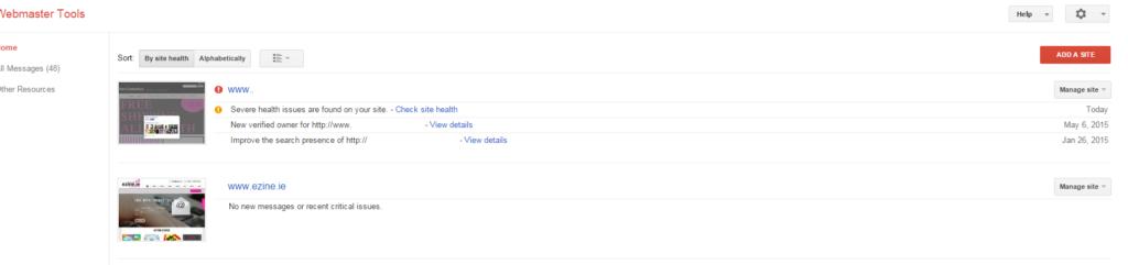 Webmaster Tools highlighting onsite Search Engine Optimisation Issues ireland